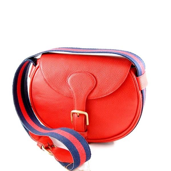 Borsa tracolla rossa con fascia colorata Il Sellaio