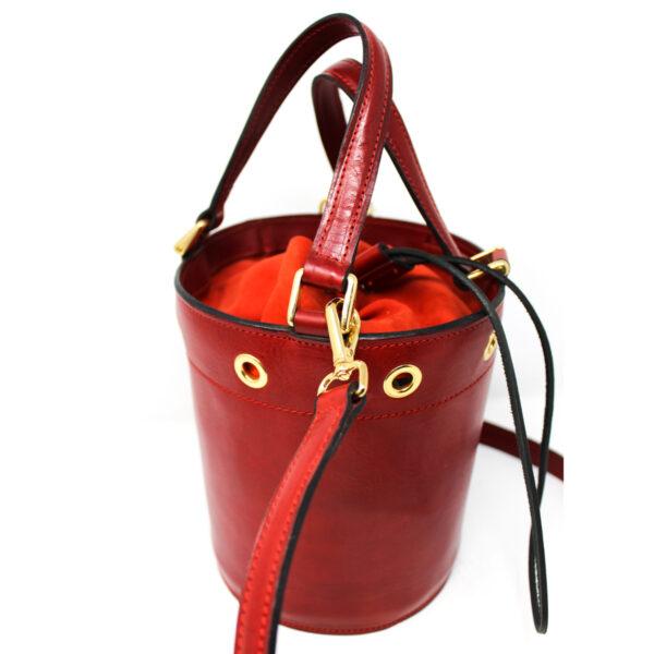 borsa secchiello cuoio rosso