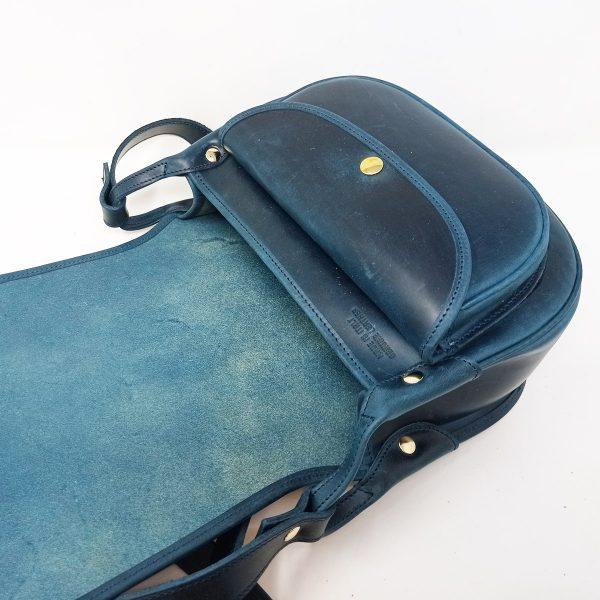 saddle bag cuoio blu